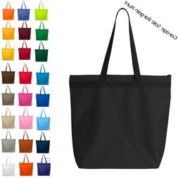 Large Zippered Tote Bag Shoulder Tote Bag Beach Bag Black +