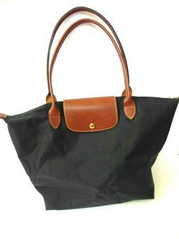Longchamp Le Pliage Nylon Large Tote Bag Leather Strap Handl