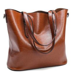 Leather Tote Bag for Women Large Commute Handbag Shoulder Ba