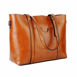 YALUXE Leather Tote Work Women's Shoulder Bag Vintage Style
