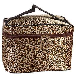 YJYdada Leopard Print Cosmetic Bags Women Travel Makeup Bag