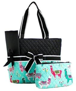 Llama Theme NGIL Print Quilted 3 piece Diaper Bag Free Shipp