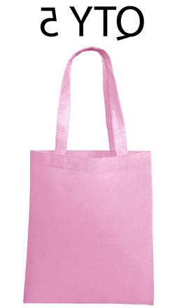 Lot 5 Tote Bag Reusable Pink Shopping Grocery Travel Cheap B