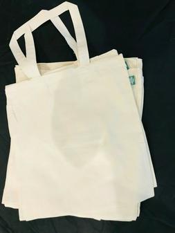 "Lot of 12 NEW 100% Organic Cotton Tote Bag Plain 16 1/2"" x 1"