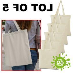 LOT of 5 Canvas  bag  shopping Tote Bag, Beach Totes, Reusab