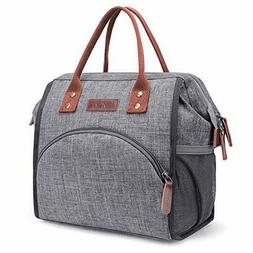 Lunch Bag Insulated Lunch Box Wide-Open Lunch Tote Bag, Grey