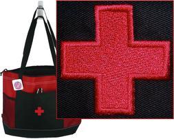 Medical Red Cross Monogram Gemline Select Zippered Tote Bag