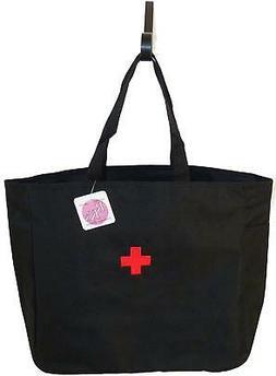 Medical Red Cross Monogram Tote Bag Black Doctor School Nurs