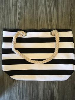 Medium Canvas Tote Bag Travel Gym White And Black Stripe