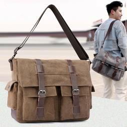 Men Canvas Crossbody Bags Shoulder Messenger Bags Vintage Bi