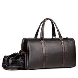 Men Leather Gym Bag Travel Duffels Weekender Brown Overnight