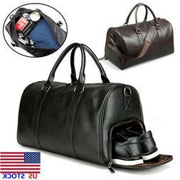 Men Leather Gym Duffel Shoulder Bag Travel Overnight Luggage