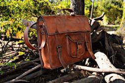 Men's Leather Messenger Shoulder Bags Business Briefcase Lap