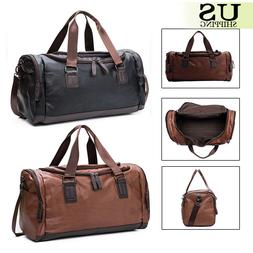 Men's Luggage Leather Travel Shoulder Bags Duffle Gym Bags T
