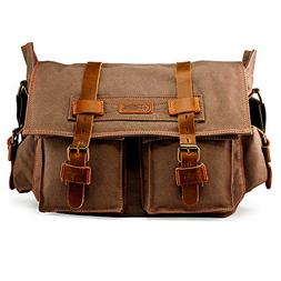 Men's Vintage Canvas and Leather Satchel School Military Sho
