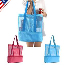 mesh beach tote bag picnic cooler insulated