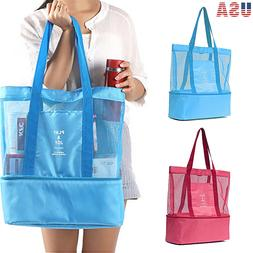 Mesh Beach Tote Bag Picnic Cooler Insulated Outdoor Sport Tr