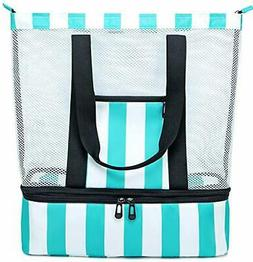 mesh beach tote bag with cooler compartment
