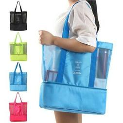 Mesh Beach Tote Bag Zipper Top Insulated Picnic Cooler Handb