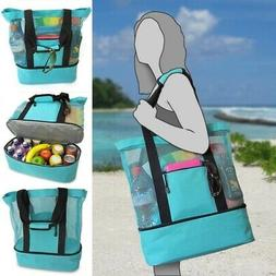 Large Mesh Beach Tote Bag with Insulated Picnic Cooler Top Z