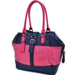 Dasein Mesh Panel Women Leather Handbag Tote Bag Shoulder Ba