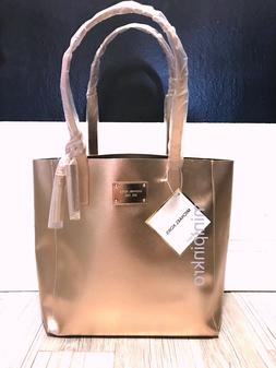 Michael Kors Metallic Pink Rose Gold Tote Travel Shopper Wee