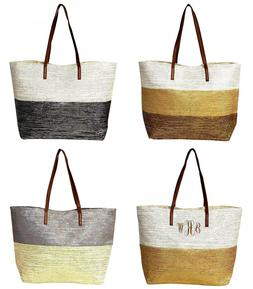 Metallic Stripe Straw Tote Bag Silver Gold Bronze Shimmer Gl