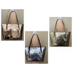 Michael Kors Ciara Top Zip Signature Mirror Metallic Leather