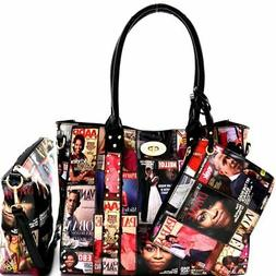 Michelle Obama Magazine Print Studded Patent 3 in 1 Tote Bag