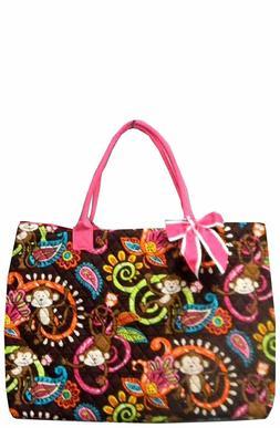 NGIL Monkey Island w/Pink Trim Large Overnight Tote Bag-Mono