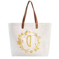 ElegantPark Monogram D Personalized Tote Bag with Interior Z
