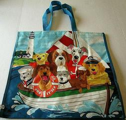 "NAUTICAL Reusable Tote Bag 19"" x 18"" x 8""  S.S. NAUTI DOG"
