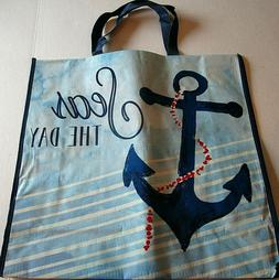 "NAUTICAL Reusable Tote Bag 19"" x 18"" x 7""  SEAS THE DAY"