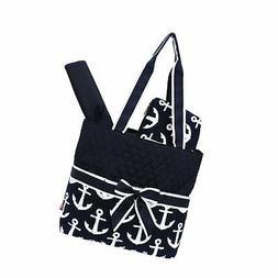 Navy Anchor Print NGIL Quilted 3pcs Diaper Bag