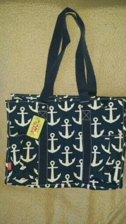 Navy Blue Anchors NGIL® Mega Shopping Utility Tote Bag With