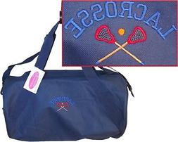 Navy Lacrosse Duffel Tote Bag Sports Game Sticks Ball Monogr