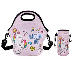 Violet Mist Neoprene Lunch Tote Bag Set Insulated Reusable W