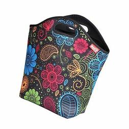 """yookee home Large Neoprene Lunch Bag for Women, 14"""" x 14"""" x"""