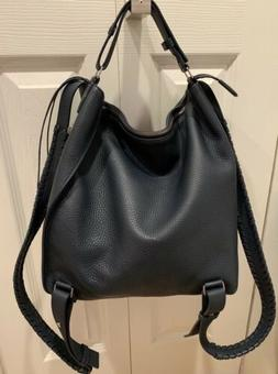NEW All Saints Kita Leather Backpack Tote Bag Navy Allsaints