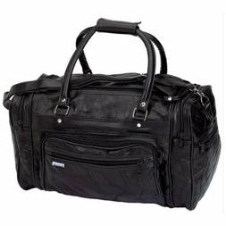 New! Black GENUINE Leather Tote Bag Gym Duffle Travel Luggag