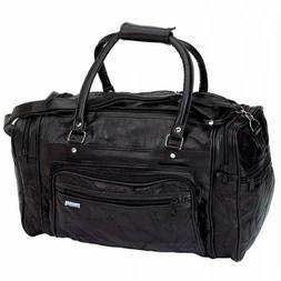New! Black GENUINE Leather Tote Bag Gym Duffle Travel Luggag