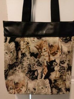 """New! Cats Tote Bag/Purse-Black, Brown-14"""" X 14""""  Zipper Clos"""