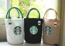 NEW hot Starbucks Canvas Tote Bag White Black Lunch Bag Reus