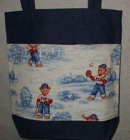 NEW Large Denim Tote Bag Handmade/w BJ Teddy Bear Baseball #