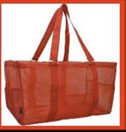 NEW Ngil Large Utility Tote Bag Haul It Solid RED 100% Mesh