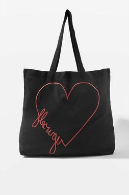 NEW Topshop Love Yourself 100% Cotton Canvas Tote Bag Black