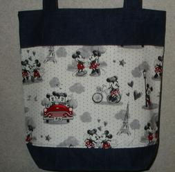 NEW Medium Denim Tote Bag Handmade/w Mickey Minnie Mouse Par