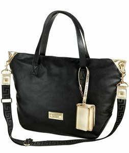 NEW! Versace Perfumes Black Tote/Shoulder Bag, Gold Wristlet