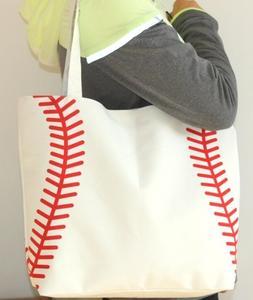 NEW White Baseball Stitch Totes Shopping Bag Tote Mom Purse