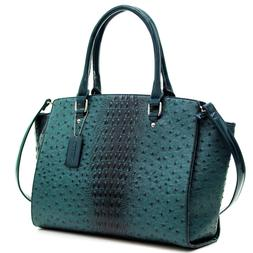 New Women Ostrich Leather Tote Briefcase Work Satchel Should